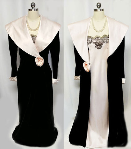 VINTAGE GEORGETTE TRABOLSI BLACK VELVETY DRESSING GOWN ROBE WITH PINK SATIN FABRIC ROSE & MATCHING NIGHTGOWN SET