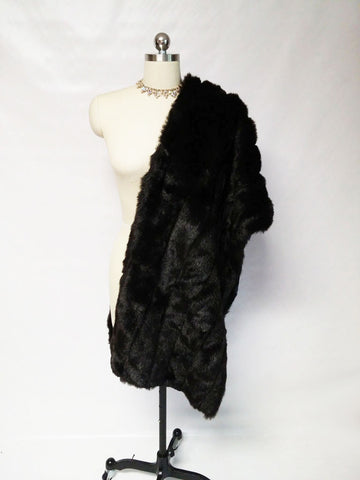NEW HALSTON FAUX MINK & SATIN STOLE - PERFECT FOR THE HOLIDAYS OVER COCKTAIL DRESSES & EVENING GOWNS