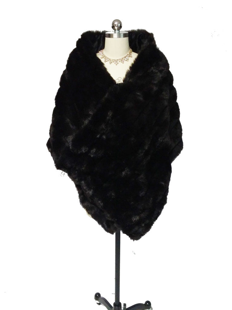 NEW HALSTON FAUX MINK & SATIN STOLE - PERFECT FOR THE HOLIDAYS OVER ...