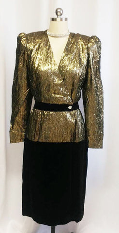 VINTAGE '80s HALSTON III BLACK AND SPARKLING METALLIC GOLD LAME VELVET EVENING DRESS / COCKTAIL DRESS