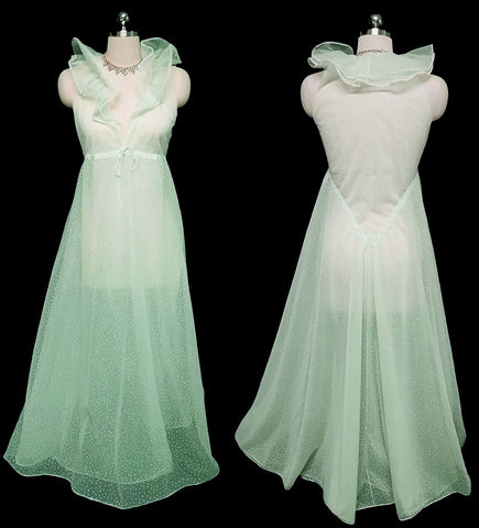 SOLD - VINTAGE DESIGNER HALSTON FORMFIT GRAND SWEEP FLOCKED HEARTS DOUBLE NYLON NIGHTOWN IN MINT FRAPPE - ABSOLUTELY GORGEOUS