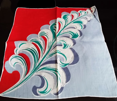 VINTAGE LIPSTICK RED, GRAY & TEAL FEATHER PLUME HANDKERCHIEF - BEAUTIFUL COLORS