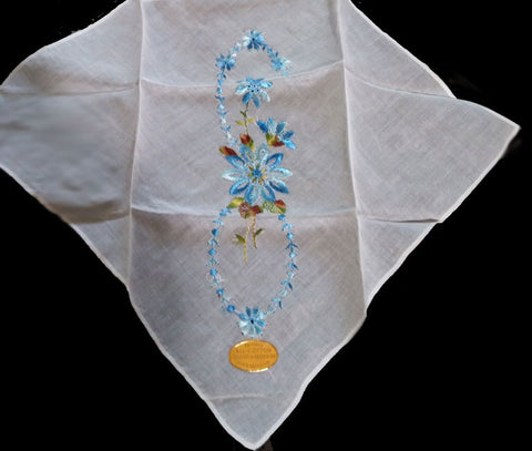 VINTAGE ALL COTTON EMBROIDERED BLUE & GREEN FLORAL HANDKERCHIEF MADE IN SWITZERLAND - NEW WITH TAG