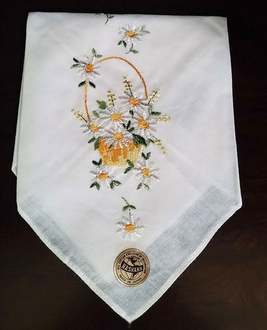 VINTAGE ALL COTTON EMBROIDERED WHITE & GOLD FLORAL BASKET HANDKERCHIEF MADE IN SWITZERLAND - NEW WITH TAG