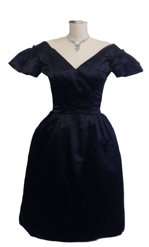 EXQUISITE VINTAGE '50s KAREN STARK FOR HARVEY BERIN SILK SATIN NAVY BELL COCKTAIL EVENING DRESS WITH METAL ZIPPER