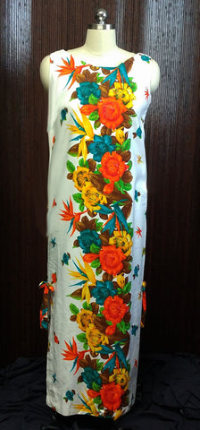 VINTAGE '50s / '60s HAWAIIAN BIRDS OF PARADISE & HIBISCUS DRESS IN A GORGEOUS PRINT