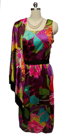 VINTAGE H/B JRS. OF CALIFORNIA SILKY DRESS WITH MATCHING PIANO FRINGE SHAWL - GORGEOUS COLORS!