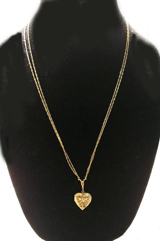 BEAUTIFUL VINTAGE '60s / '70s GOLD TONE RHINESTONE DOUBLE CHAIN HEART LOCKET NECKLACE - OPENS FOR A PHOTO