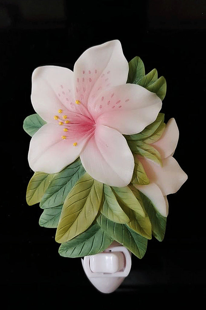 NEW - BEAUTIFUL HAND PAINTED TROPICAL HIBISCUS PLUG IN NIGHT LIGHT WITH BULB