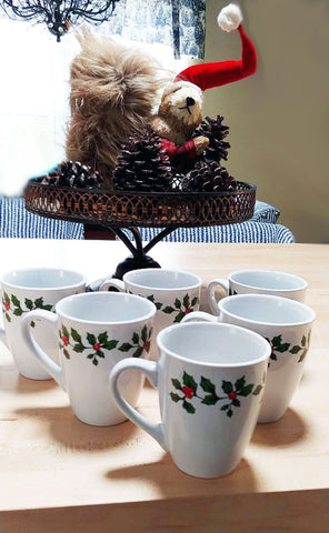 FESTIVE HOLLY BERRY STONEWARE MUGS - SET OF 6