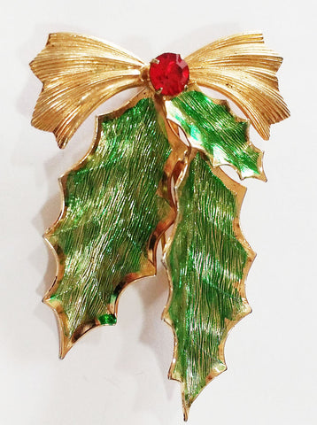 VINTAGE '70s HOLLYBERRY LEAVES PIN PIN / BROOCH ACCENTED WITH A BOW & A SPARKLING RHINESTONE BERRY