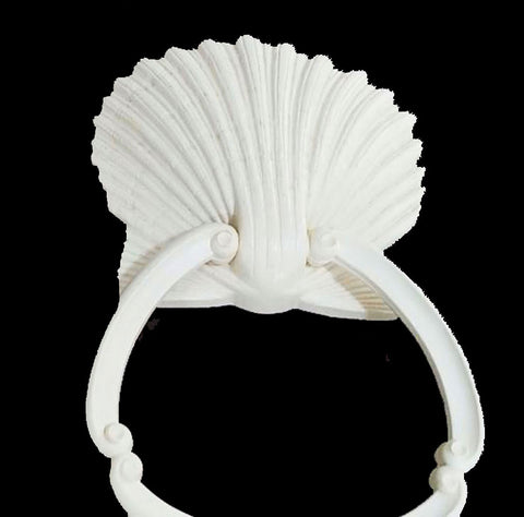 VINTAGE HOMCO ONE (1) SEA SHELL RING TOWEL HOLDER FROM THE '70s - BATH ACCESSORIES -