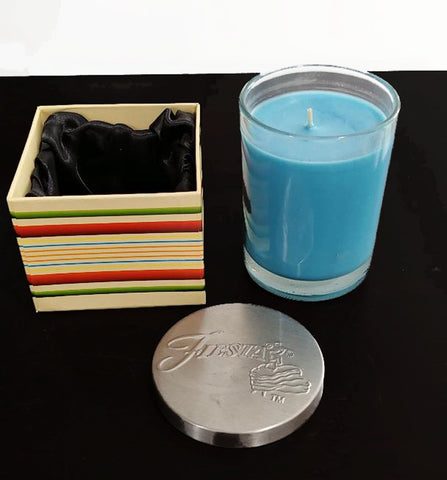 NEW OLD STOCK - HOMER LAUGHLIN FIESTA 8 OZ. FILLED JAR CANDLE IN PEACOCK