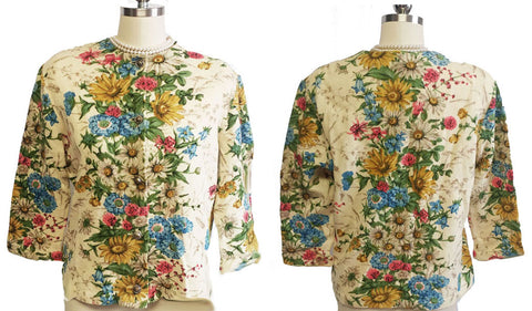 VINTAGE KIO IMPORTED BY HOOPER MADE IN WEST GERMANY FLORAL SWEATER WITH BEAUTIFUL METAL BUTTONS