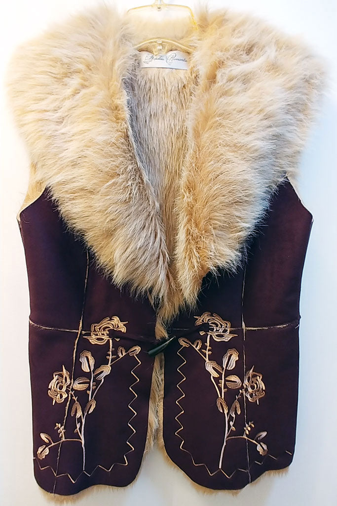 NEW - HOPELESS ROMANTIC FAUX FUR & SUEDE EMBROIDERED VEST - PERFECT FOR FALL & WINTER