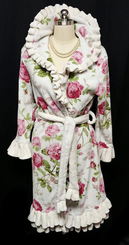 VERY FEMININE ROMANTIC PLUSH FLORAL DRESSING GOWN ROBE WITH RUFFLES – SIZE SMALL / MEDIUM