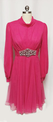 VINTAGE HOT PINK BEADED, RHINESTONE & PEARL COCKTAIL DRESS WITH HUGE PLEATED SLEEVES