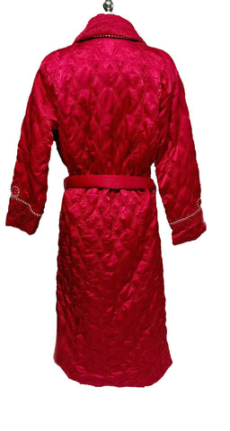 VINTAGE SATIN ORIENTAL ASIAN QUILTED WRAP ROBE IN CANDY CANE RED - LARGE