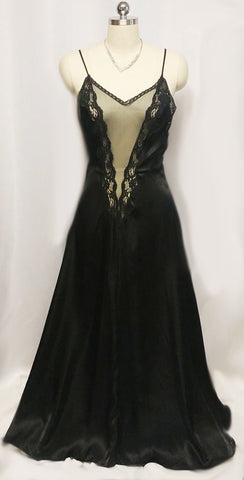 VINTAGE INTIME OF CALIFORNA HEAVY SATIN BLACK LACE PEIGNOIR & NIGHTGOWN SET