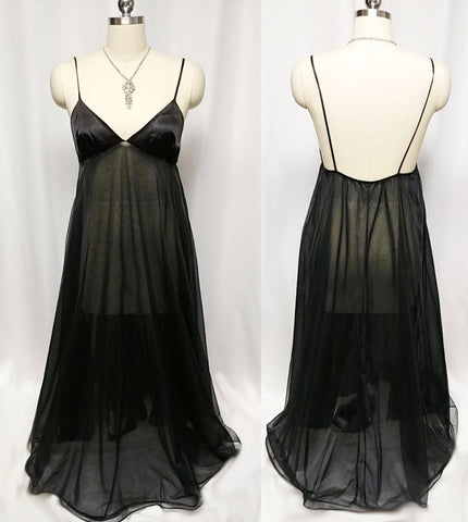 VINTAGE INTIME OF CALIFORNIA DOUBLE LAYER OF NYLON AND SATIN NIGHTGOWN IN DEVIL'S FOOD