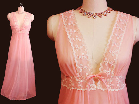 VINTAGE INTIME LACE SHEER DOUBLE NYLON NIGHTGOWN IN PARISIAN PEACH