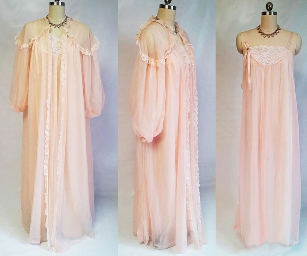 Exquisite vintage fluffy intime lace double nylon peignoir nightgown  vintage clothing fashions midnight glamour jpg 1024x855 e31926069