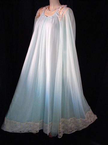 VINTAGE INTIME DOUBLE NYLON & LACE PEIGNOIR & NIGHTGOWN SET IN RENAISSANCE BLUE - NEW WITH TAG