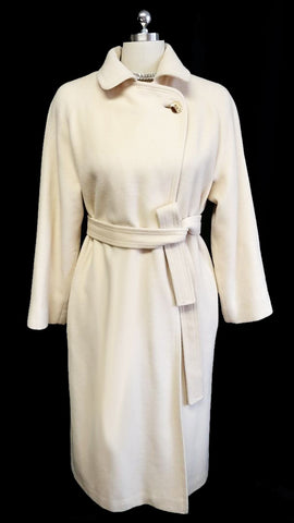 LUXURIOUS VINTAGE CLASSIC IVORY PEARL DENISE ORIGINALS LESTER MELNICK CHINESE CASHMERE TRENCH WRAP COAT