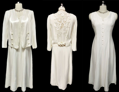 VINTAGE INFORMAL WEDDING OR SPECIAL OCCASION JACKET & DRESS ADORNED WITH SATIN ROSES