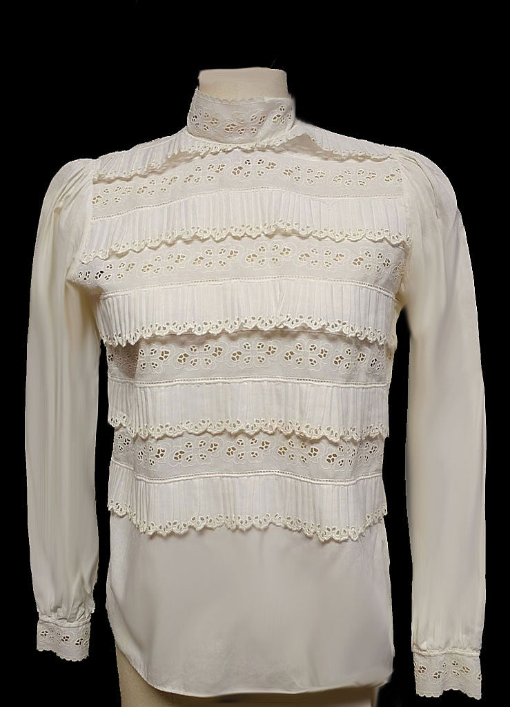 BEAUTIFUL VINTAGE GERMAN IVORY RUFFLES AND EYELET COTTON BLOUSE