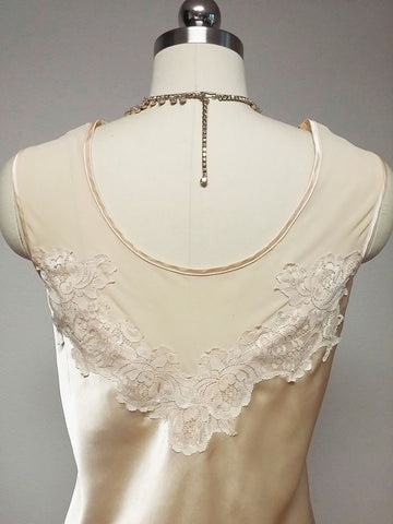 LUXURIOUS VINTAGE IVORY LATTE SATIN & LARGE LACE ILLUSION NIGHTGOWN