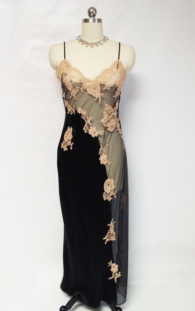 "NEW - FROM MY OWN PERSONAL COLLECTION - GORGEOUS BRIDAL TROUSSEAU BY JACALYN BENNETT FOR FREDERICK'S OF HOLLYWOOD"" SHEER BLACK SILK ILLUSION NIGHTGOWN ENCRUSTED WITH SPARKLING SEQUIN, PEARLS &  ECRU APPLIQUES"