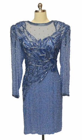 VINTAGE BREATH TAKING JACQUELINE FERRAR SILK DRESS  ENCRUSTED WITH RHINESTONE, SEQUIN & BEADING IN STARRY NIGHT