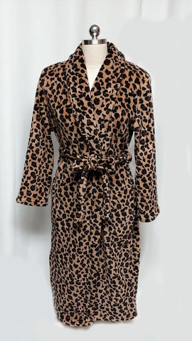 JASMINE ROSE PLUSH LEOPARD DRESSING GOWN ROBE - SO SOFT!