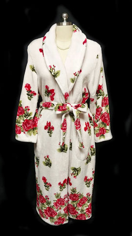 BEAUTIFUL NOIRE JASMINE ROSE PLUSH ROBE ADORNED WITH RED ROSES