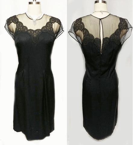 "VINTAGE ""70S BLACK ILLUSION JEAN OF CALIFORNIA COCKTAIL DRESS ADORNED WITH CHANTILLY LACE"