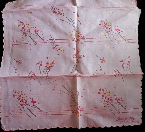 NEW OLD STOCK - VINTAGE JEAN OL' ORLY - PARIS HANDKERCHIEF IN HOT PINK, YELLOW, ESPRESSO AND GOLD LONG STEM FLORALS
