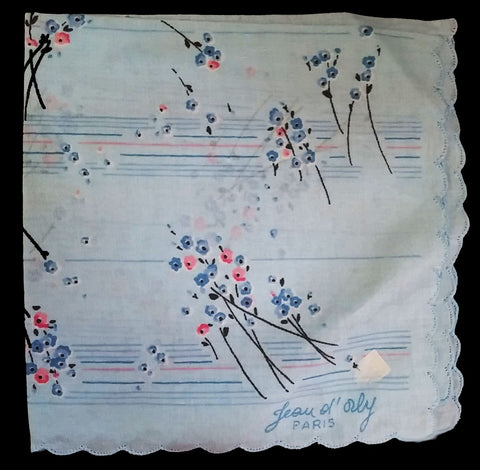 NEW OLD STOCK - VINTAGE JEAN OL' ORLY - PARIS HANDKERCHIEF IN BLUES, PINK AND BLACK LONG STEM FLORALS