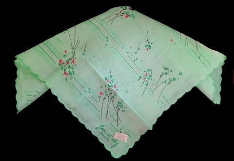 NEW OLD STOCK - VINTAGE JEAN OL' ORLY - PARIS HANDKERCHIEF MINT GREEN, TEAL, CORAL AND BLACK