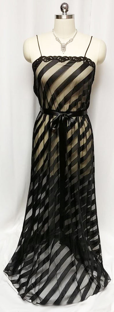 GLAMOROUS VINTAGE JENELLE OF CALIFORNIA BLACK SHEER DIAGONAL NIGHTGOWN