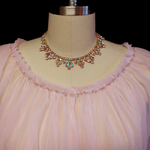 VINTAGE JENELLE STRAWBERRY ICE CREAM PINK DOUBLE NYLON PEIGNOIR ADORNED WITH ROSES
