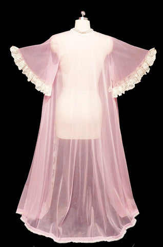 VINTAGE JENELLE OF CALIFORNIA SHEER NYLON TRICOT PEIGNOIR WITH LACE TRIMMED FULL CIRCLE SLEEVES IN PINK ANGEL