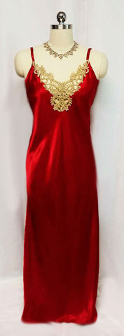 SOLD - GLAMOROUS VINTAGE '80s JESSICA LYNN  SCARLET RUBY CHARMEUSE SATIN GOLD LACE NIGHTGOWN