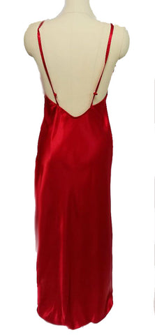 GLAMOROUS VINTAGE '80s JESSICA LYNN  SCARLET RUBY CHARMEUSE SATIN GOLD LACE NIGHTGOWN