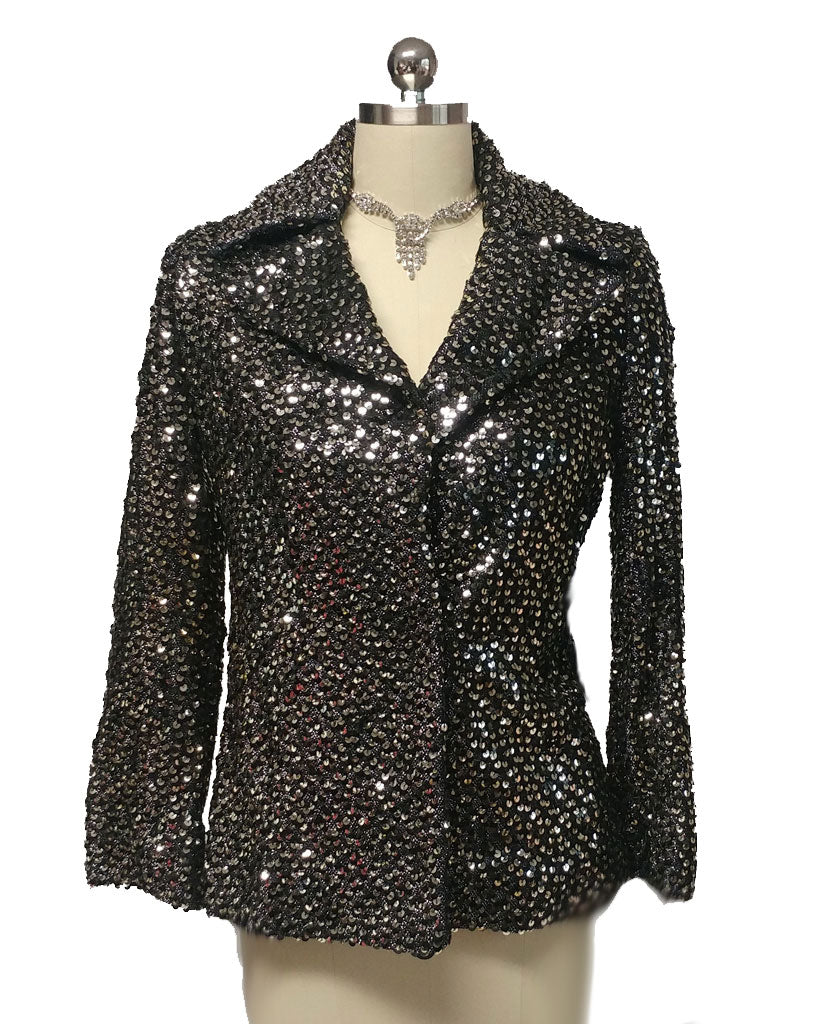 VINTAGE JOHN HELLER SPARKLING JACKET ENCRUSTED WITH SEQUINS - PERFECT FOR THE HOLIDAYS