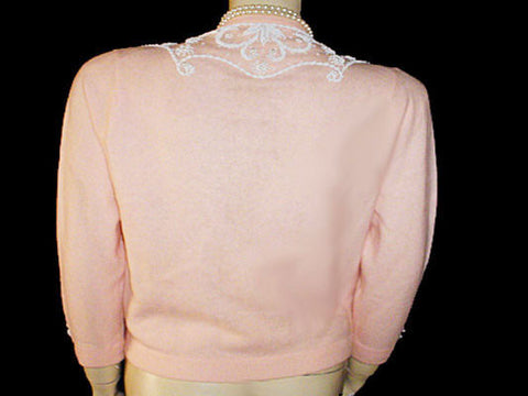 FROM MY OWN PERSONAL COLLECTION - VINTAGE '50s / '60s CASHMERE & ANGORA EVENING SWEATER ENCRUSTED WITH BEADS & PEARLS MADE IN HONG KONG - LARGER SIZE