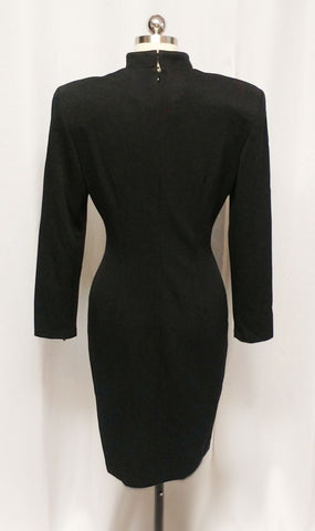 VINTAGE '70s JOSEPH RIBKOFF DESIGNER FROM CANADA SEXY LITTLE BLACK SPANDEX DRESS