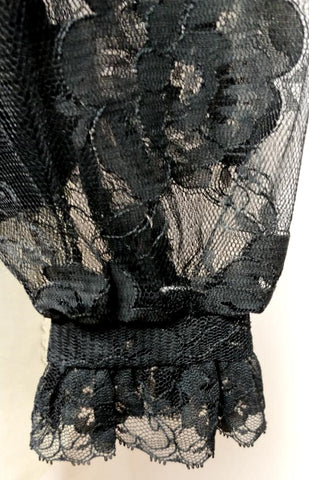 VINTAGE '60s JUDY BOND FANCY BLACK FLORAL LACE BLOUSE