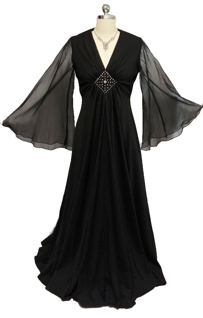 84b24916f4a9 SOLD - SOPHISTICATED VINTAGE '60s / '70s JULIE FRANCIS FOR BERNIE BEE  RHINESTONE BLACK EVENING GOWN WITH ANGEL SLEEVES