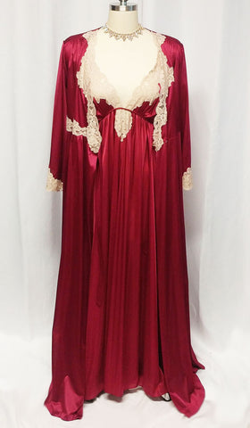VINTAGE KAYSER SILKY PEIGNOIR & NIGHTGOWN SET WITH ECRU LACE IN CRANBERRY